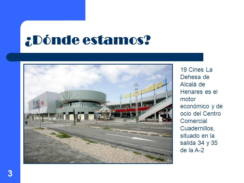 3 ¿Dónde estamos? 19 Cines La Dehesa de Alcalá de Henares es el motor económico y de ocio del Centro Comercial Cuadernillos, situado en la salida 34 y