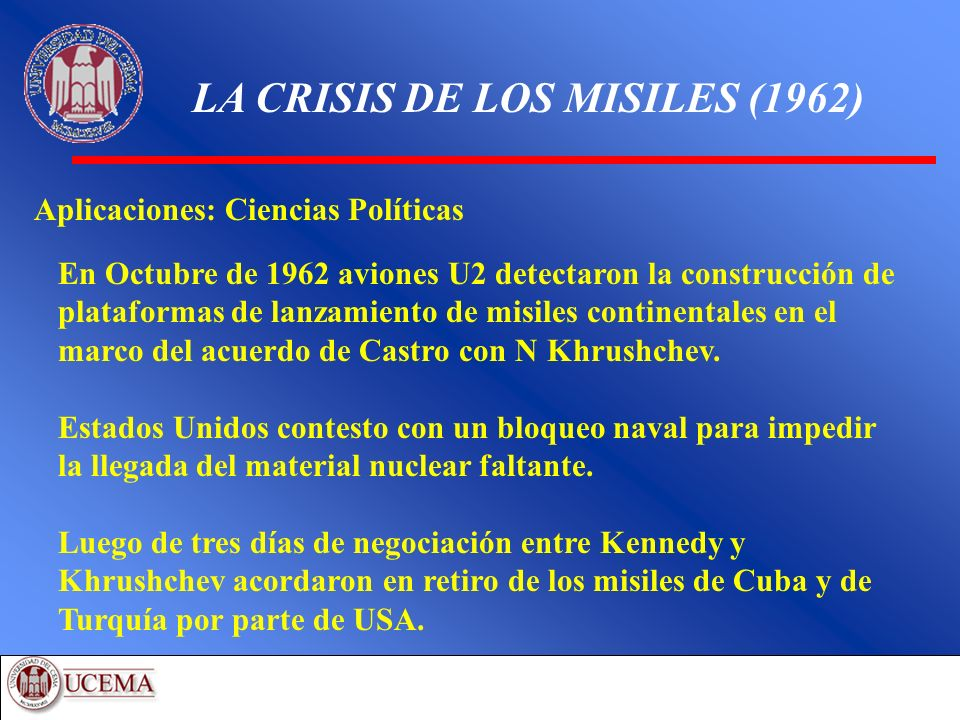 LA CRISIS DE LOS MISILES (1962) Aplicaciones: Ciencias Políticas En Octubre de 1962 aviones U2 detectaron la construcción de plataformas de lanzamient