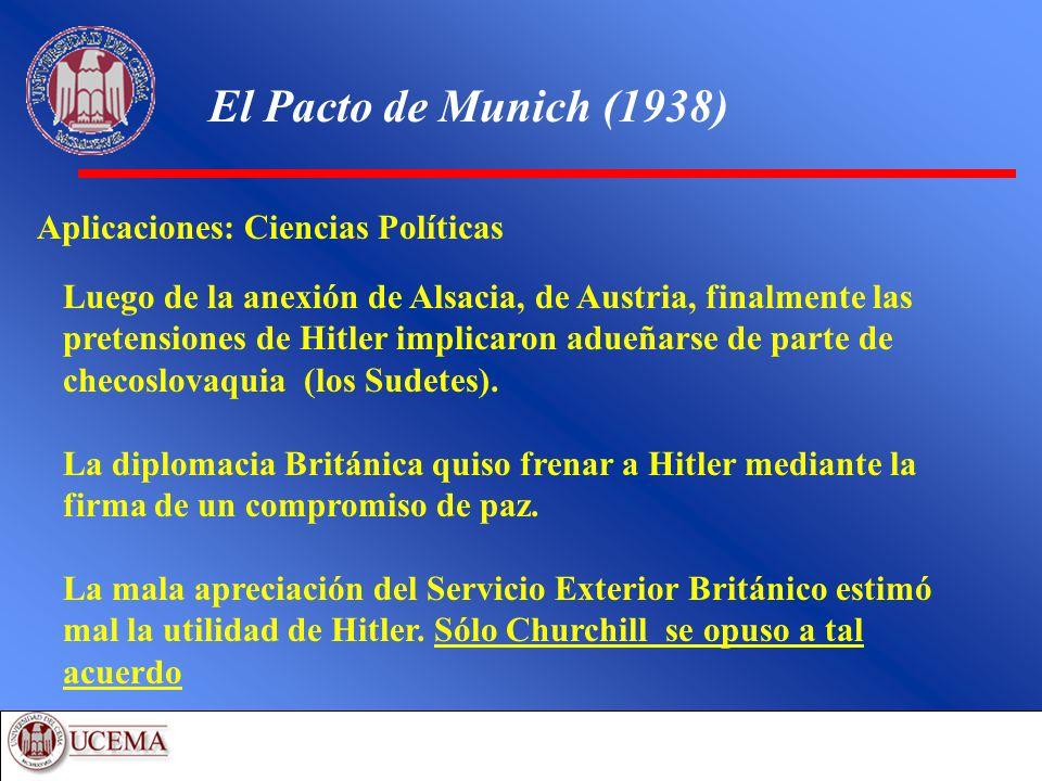 El Pacto de Munich (1938) Aplicaciones: Ciencias Políticas Luego de la anexión de Alsacia, de Austria, finalmente las pretensiones de Hitler implicaro