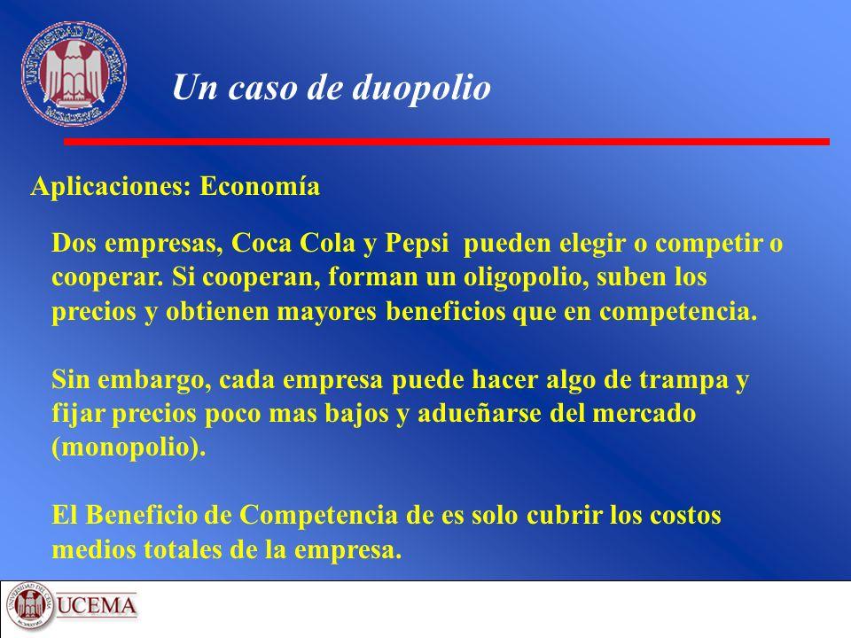 Un caso de duopolio Aplicaciones: Economía Dos empresas, Coca Cola y Pepsi pueden elegir o competir o cooperar. Si cooperan, forman un oligopolio, sub