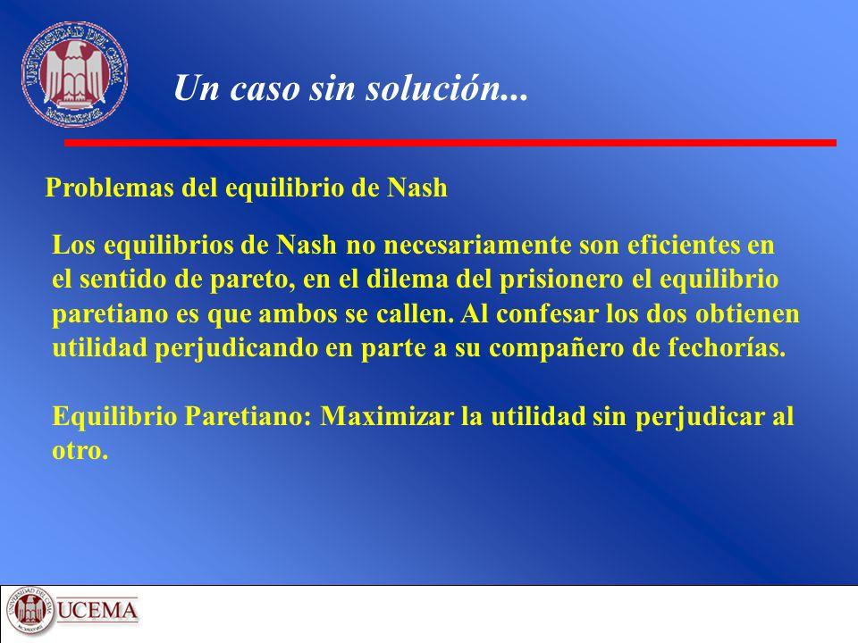 Un caso sin solución... Problemas del equilibrio de Nash Los equilibrios de Nash no necesariamente son eficientes en el sentido de pareto, en el dilem
