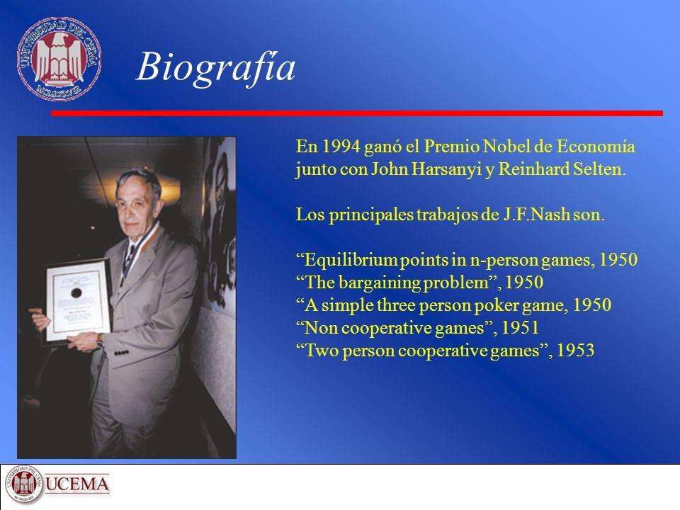 Biografía En 1994 ganó el Premio Nobel de Economía junto con John Harsanyi y Reinhard Selten. Los principales trabajos de J.F.Nash son. Equilibrium po