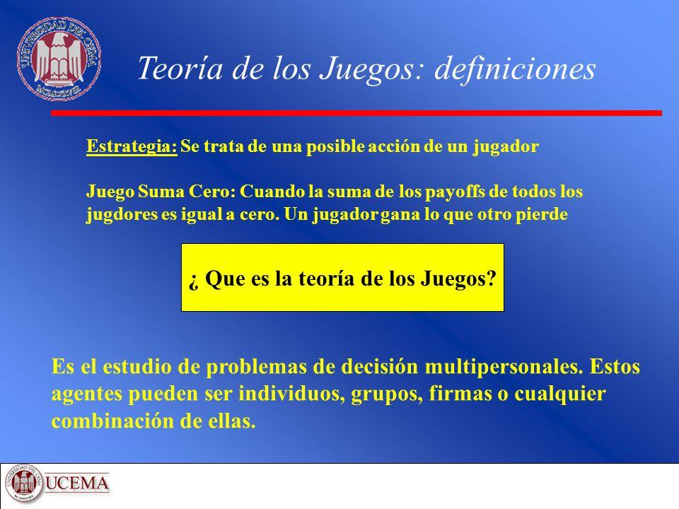 Un caso de duopolio Aplicaciones: Economía Dos empresas, Coca Cola y Pepsi pueden elegir o competir o cooperar.