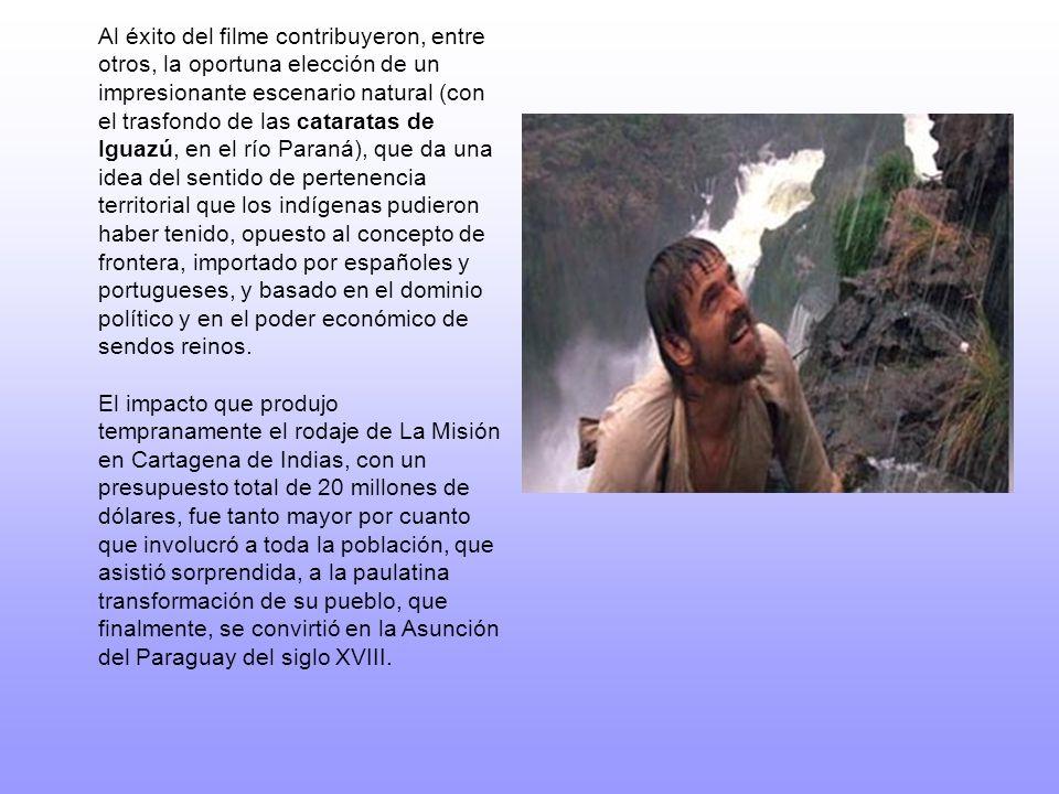 Argumento La acción se sitúa básicamente, en dos escenarios: los poblados guaraníes de las reducciones de San Miguel, la más antigua; y de San Carlos, situada por encima de las cataratas.