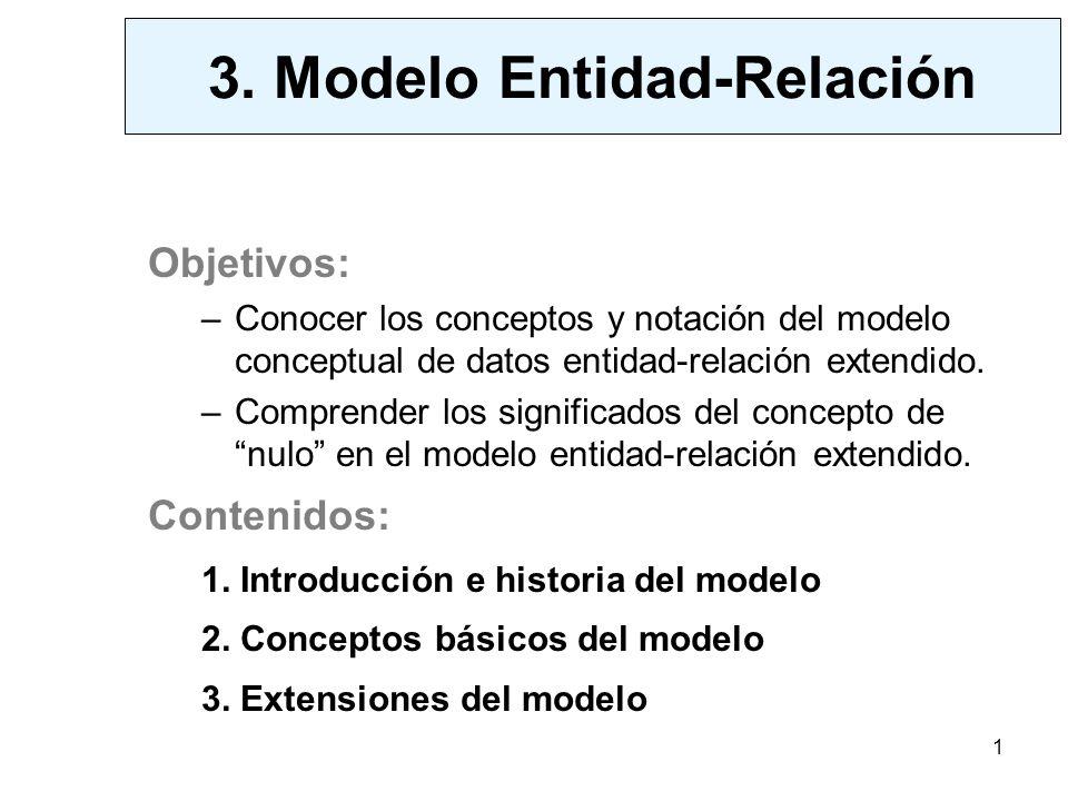 1 Objetivos: –Conocer los conceptos y notación del modelo conceptual de datos entidad-relación extendido.
