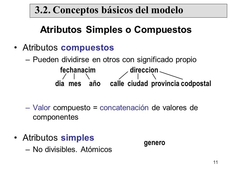 11 Atributos Simples o Compuestos Atributos compuestos –Pueden dividirse en otros con significado propio –Valor compuesto = concatenación de valores de componentes Atributos simples –No divisibles.