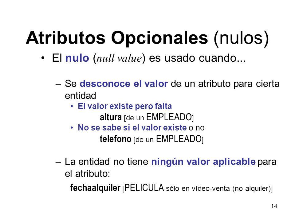 14 Atributos Opcionales (nulos) El nulo ( null value ) es usado cuando...