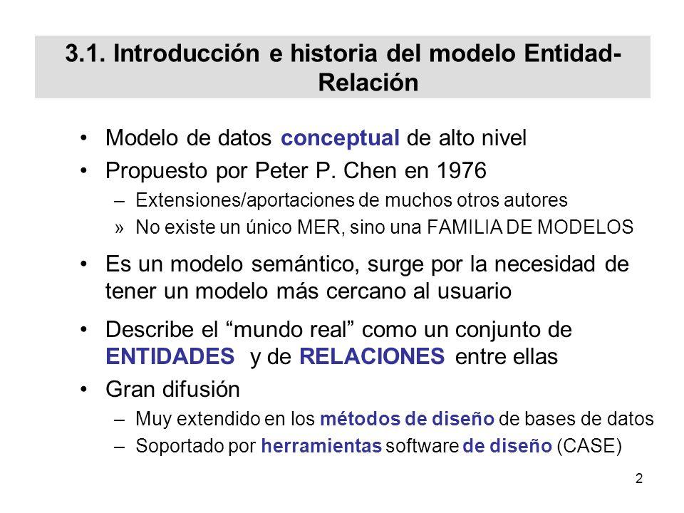 33 Cardinalidad de tipo de entidad (iii) [EN2002] EMPLEADO LOCAL_VIDEOCLUB 1 1 TRABAJA_ENSUPERVISA N 1 (0,n) (1,1) EMPLEADO LOCAL_VIDEOCLUB TRABAJA_ENSUPERVISA PELICULA M ACTUA_EN N ACTOR PELICULA (1,n) ACTUA_EN (0,m) ACTOR