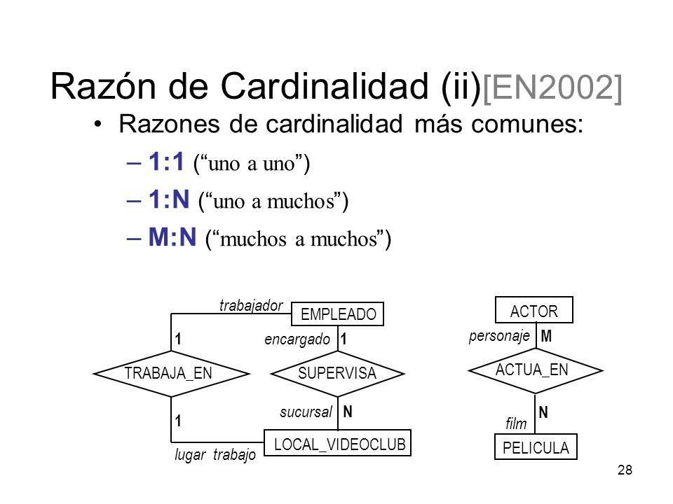 28 Razones de cardinalidad más comunes: –1:1 ( uno a uno ) –1:N ( uno a muchos ) –M:N ( muchos a muchos ) Razón de Cardinalidad (ii) [EN2002] ACTOR PELICULA personaje film M ACTUA_EN N EMPLEADO LOCAL_VIDEOCLUB encargado sucursal 1 trabajador lugar trabajo 1 TRABAJA_ENSUPERVISA N 1