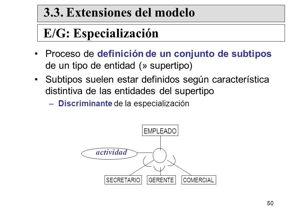 50 Proceso de definición de un conjunto de subtipos de un tipo de entidad (» supertipo) Subtipos suelen estar definidos según característica distintiva de las entidades del supertipo –Discriminante de la especialización E/G: Especialización 3.3.