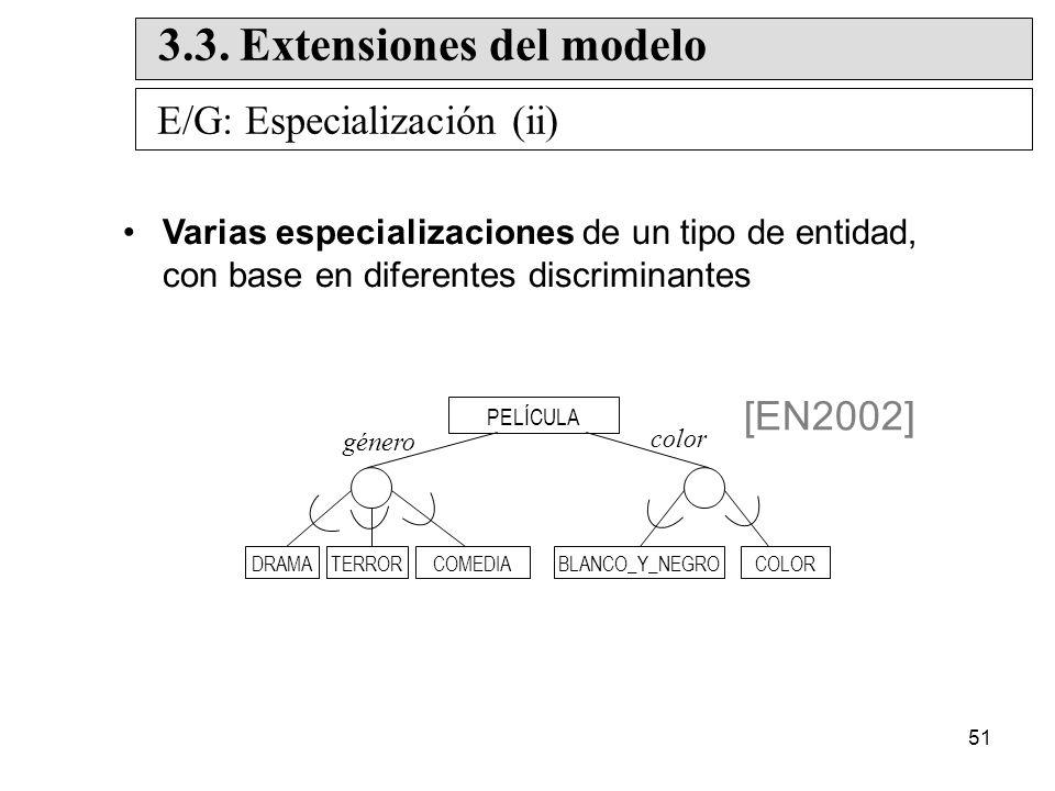51 Varias especializaciones de un tipo de entidad, con base en diferentes discriminantes PELÍCULA color género [EN2002] E/G: Especialización (ii) 3.3.