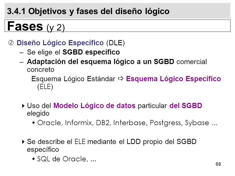 68 Diseño Lógico Específico (DLE) –Se elige el SGBD específico –Adaptación del esquema lógico a un SGBD comercial concreto Esquema Lógico Estándar Esquema Lógico Específico ( ELE ) Uso del Modelo Lógico de datos particular del SGBD elegido Oracle, Informix, DB2, Interbase, Postgress, Sybase...