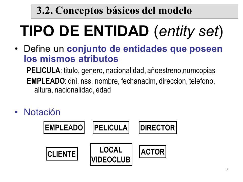 7 TIPO DE ENTIDAD (entity set) Define un conjunto de entidades que poseen los mismos atributos PELICULA : titulo, genero, nacionalidad, añoestreno,numcopias EMPLEADO : dni, nss, nombre, fechanacim, direccion, telefono, altura, nacionalidad, edad Notación EMPLEADO LOCAL VIDEOCLUB PELICULADIRECTOR ACTOR CLIENTE 3.2.
