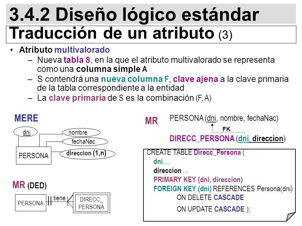 73 DIRECC_ PERSONA Atributo multivalorado –Nueva tabla S, en la que el atributo multivalorado se representa como una columna simple A –S contendrá una nueva columna F, clave ajena a la clave primaria de la tabla correspondiente a la entidad –La clave primaria de S es la combinación (F, A) PERSONA (dni, nombre, fechaNac) DIRECC_PERSONA ( dni, direccion ) FK 3.4.2 Diseño lógico estándar Traducción de un atributo (3) PERSONA MR (DED) tiene PERSONA fechaNac dni direccion (1,n) nombre MERE MR CREATE TABLE Direcc_Persona ( dni...