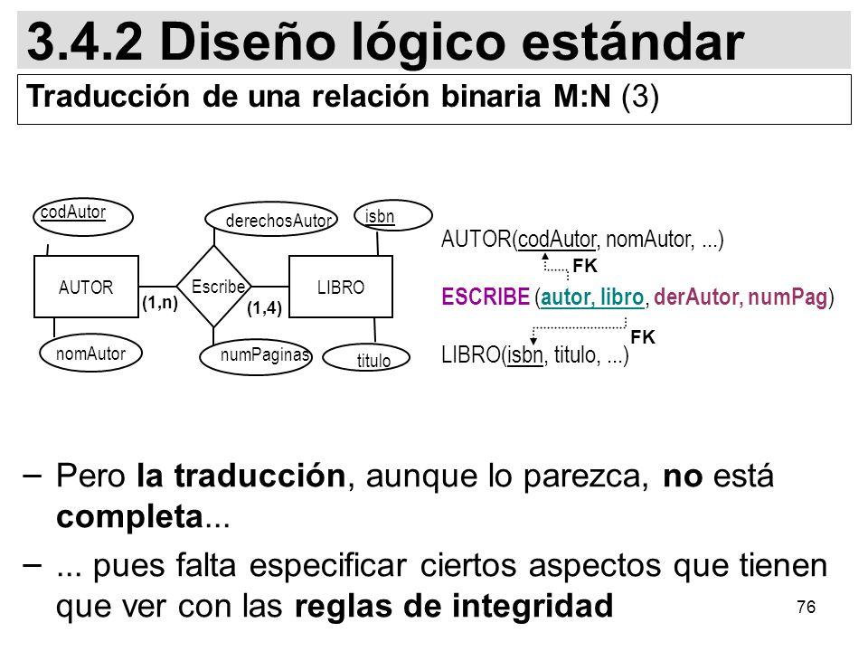 76 AUTOR(codAutor, nomAutor,...) ESCRIBE ( autor, libro, derAutor, numPag ) LIBRO(isbn, titulo,...) FK 3.4.2 Diseño lógico estándar Traducción de una relación binaria M:N (3) AUTORLIBRO numPaginas (1,4) (1,n) titulo nomAutor codAutor isbn derechosAutor Escribe – Pero la traducción, aunque lo parezca, no está completa...