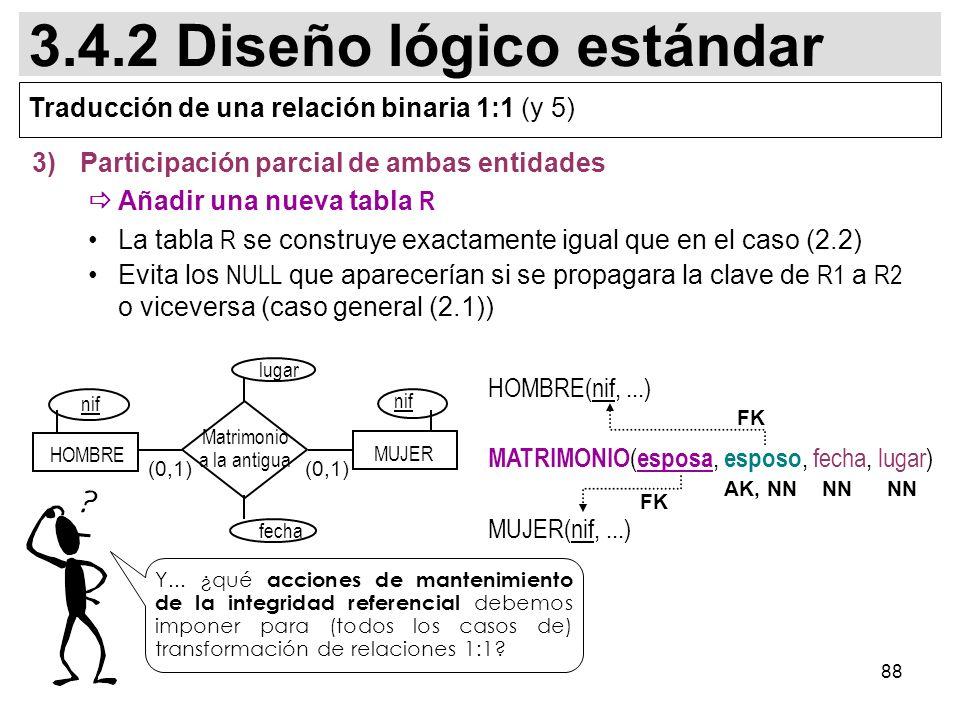 88 3)Participación parcial de ambas entidades Añadir una nueva tabla R La tabla R se construye exactamente igual que en el caso (2.2) Evita los NULL que aparecerían si se propagara la clave de R1 a R2 o viceversa (caso general (2.1)) (0,1) MUJER HOMBRE nif Matrimonio a la antigua fecha lugar HOMBRE(nif,...) MATRIMONIO ( esposa, esposo, fecha, lugar) MUJER(nif,...) FK AK, NN Y...