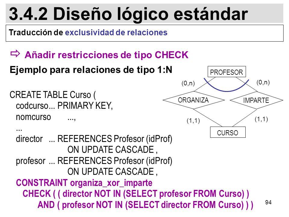 94 Añadir restricciones de tipo CHECK Ejemplo para relaciones de tipo 1:N CREATE TABLE Curso ( codcurso...