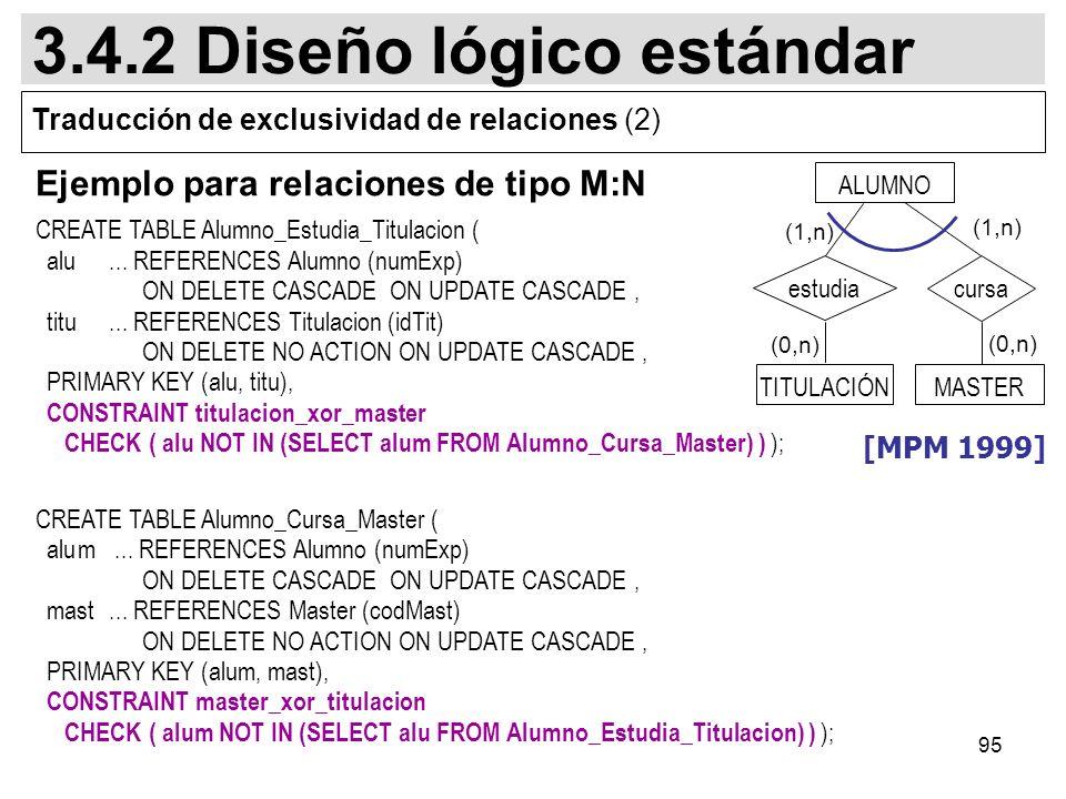 95 Ejemplo para relaciones de tipo M:N CREATE TABLE Alumno_Estudia_Titulacion ( alu...