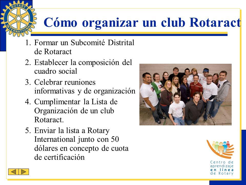 Cómo organizar un club Rotaract 1.Formar un Subcomité Distrital de Rotaract 2.Establecer la composición del cuadro social 3.Celebrar reuniones informativas y de organización 4.Cumplimentar la Lista de Organización de un club Rotaract.