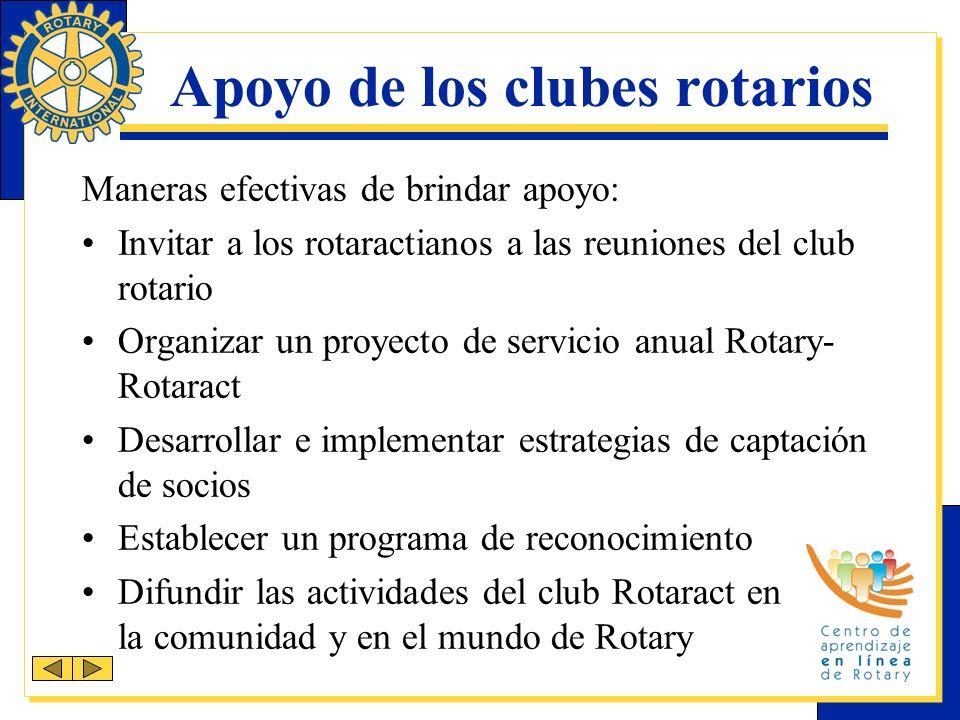 Apoyo de los clubes rotarios Maneras efectivas de brindar apoyo: Invitar a los rotaractianos a las reuniones del club rotario Organizar un proyecto de servicio anual Rotary- Rotaract Desarrollar e implementar estrategias de captación de socios Establecer un programa de reconocimiento Difundir las actividades del club Rotaract en la comunidad y en el mundo de Rotary