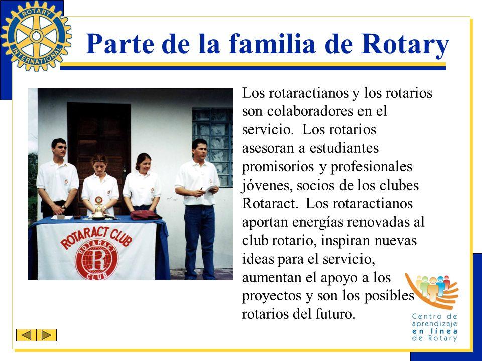 Semana Mundial de Rotaract Todos los años, los rotarios y los rotaractianos celebran la fundación del primer club Rotaract durante la semana del 13 de marzo.