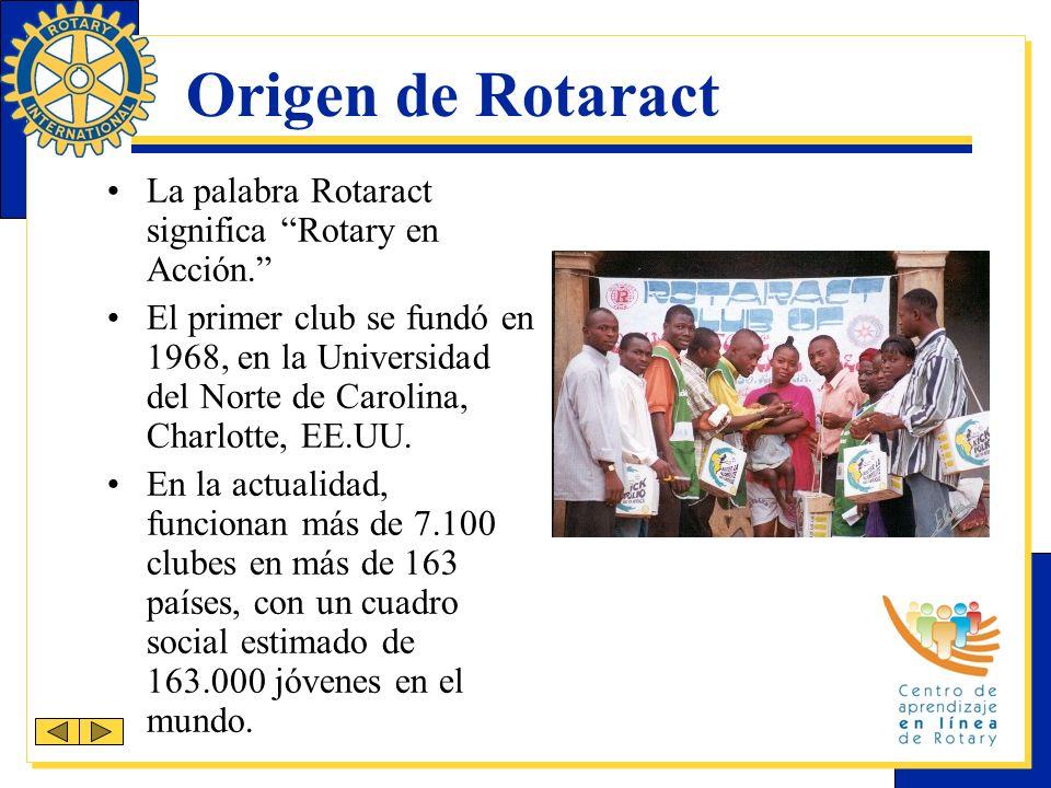 Información sobre Rotaract Patrocinados por clubes rotarios, los clubes Rotaract se gobiernan y mantienen por sí mismos y afilian a profesionales de la localidad o funcionan como actividades extracurriculares para estudiantes universitarios.