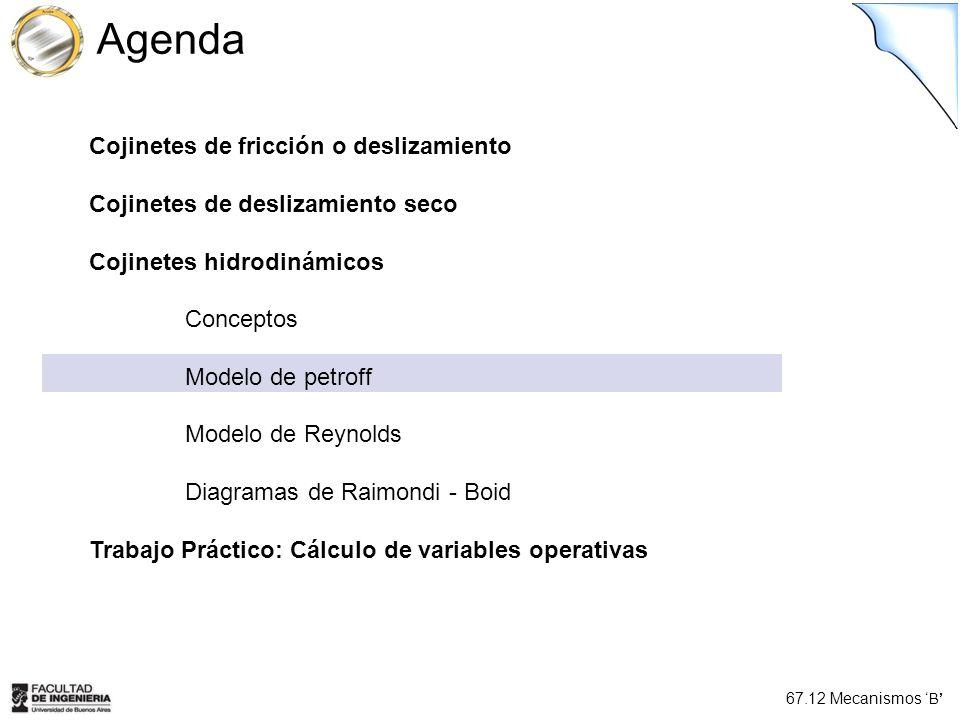 67.12 Mecanismos B Agenda Cojinetes de fricción o deslizamiento Cojinetes de deslizamiento seco Cojinetes hidrodinámicos Conceptos Modelo de petroff M