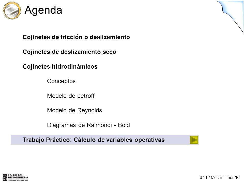 67.12 Mecanismos B Cojinetes de fricción o deslizamiento Cojinetes de deslizamiento seco Cojinetes hidrodinámicos Conceptos Modelo de petroff Modelo d