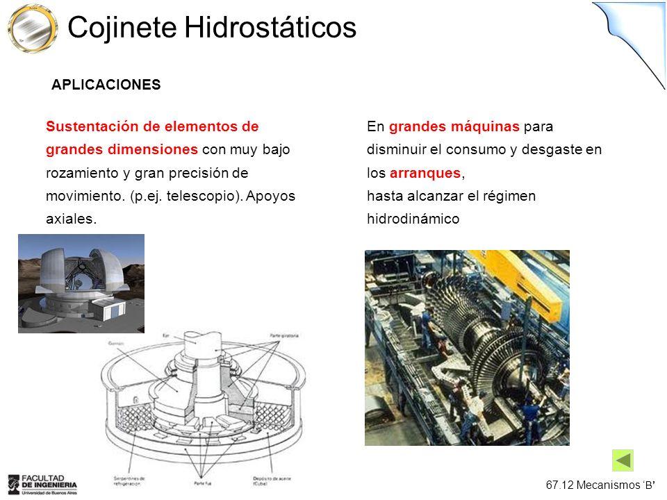 67.12 Mecanismos B Cojinete Hidrostáticos En grandes máquinas para disminuir el consumo y desgaste en los arranques, hasta alcanzar el régimen hidrodi