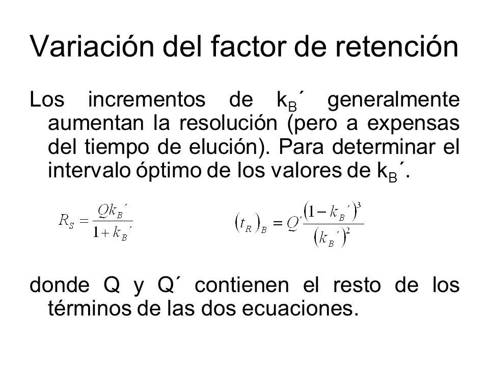 Variación del factor de retención Los incrementos de k B ´ generalmente aumentan la resolución (pero a expensas del tiempo de elución). Para determina
