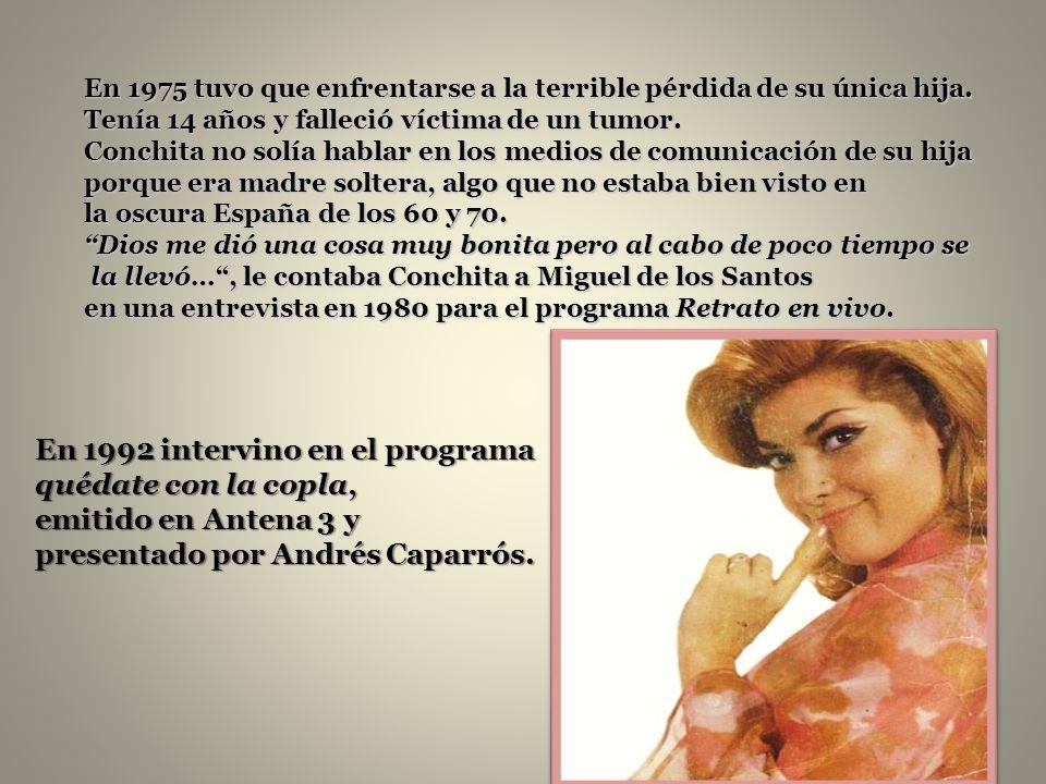 En 1969 volvieron a ver a Conchita en Europa. Participó como integrante del grupo español de cantantes en el Festival de la Canción Singing Europa 196