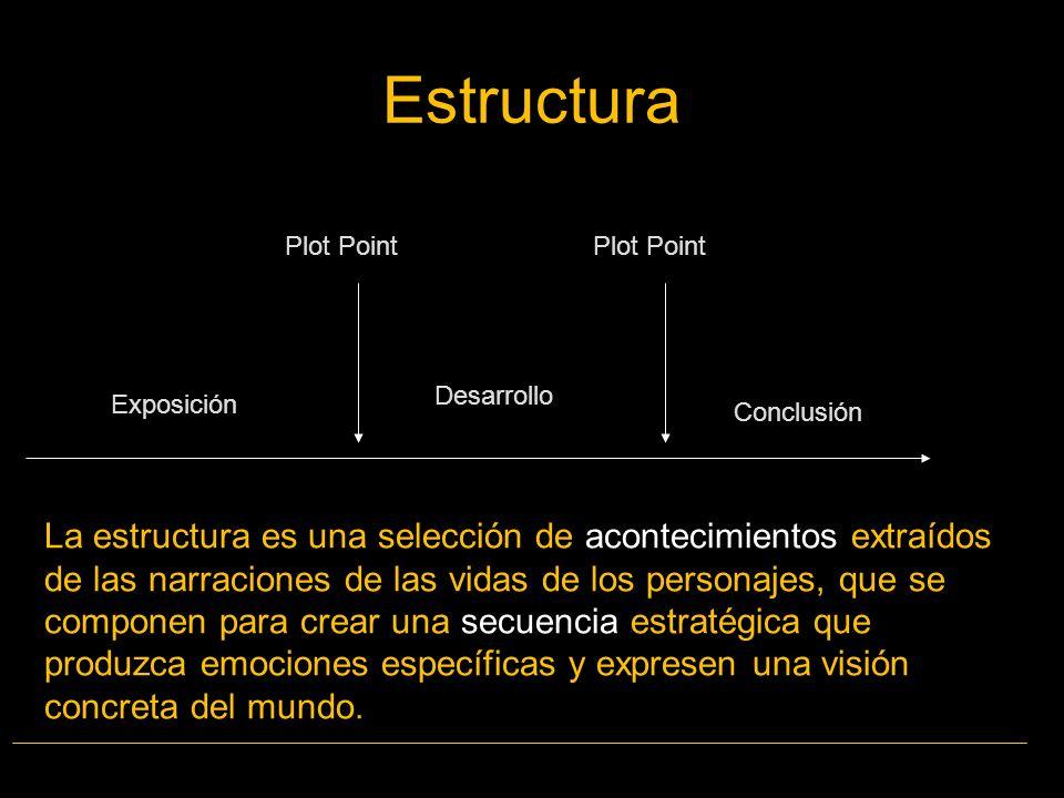 La estructura es una selección de acontecimientos extraídos de las narraciones de las vidas de los personajes, que se componen para crear una secuenci