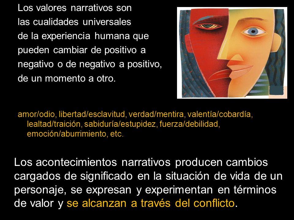 Los valores narrativos son las cualidades universales de la experiencia humana que pueden cambiar de positivo a negativo o de negativo a positivo, de