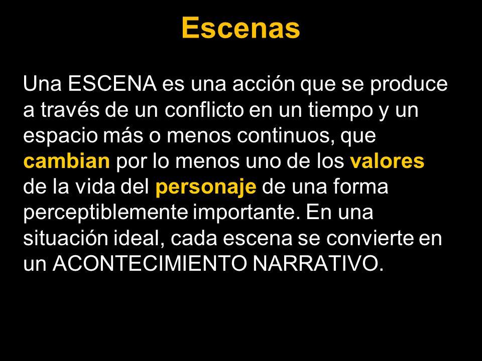 Escenas Una ESCENA es una acción que se produce a través de un conflicto en un tiempo y un espacio más o menos continuos, que cambian por lo menos uno