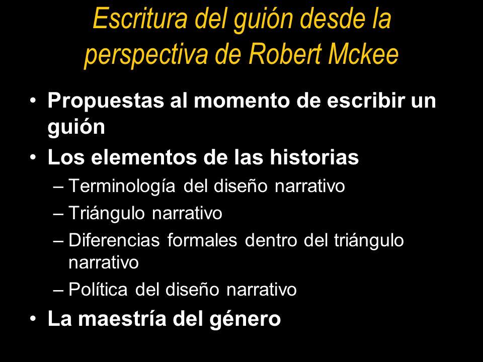 Escritura del guión desde la perspectiva de Robert Mckee Propuestas al momento de escribir un guión Los elementos de las historias –Terminología del d