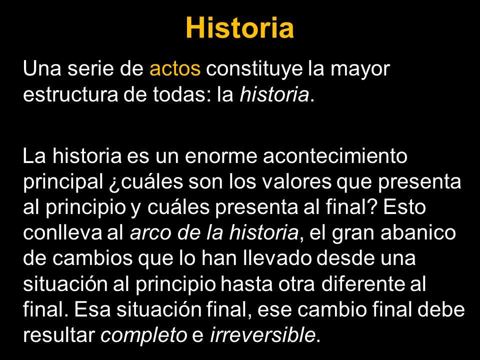 Historia Una serie de actos constituye la mayor estructura de todas: la historia. La historia es un enorme acontecimiento principal ¿cuáles son los va