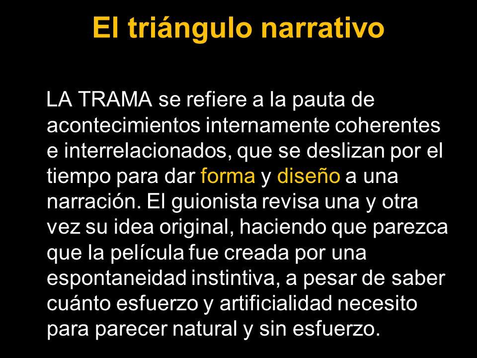 El triángulo narrativo LA TRAMA se refiere a la pauta de acontecimientos internamente coherentes e interrelacionados, que se deslizan por el tiempo pa