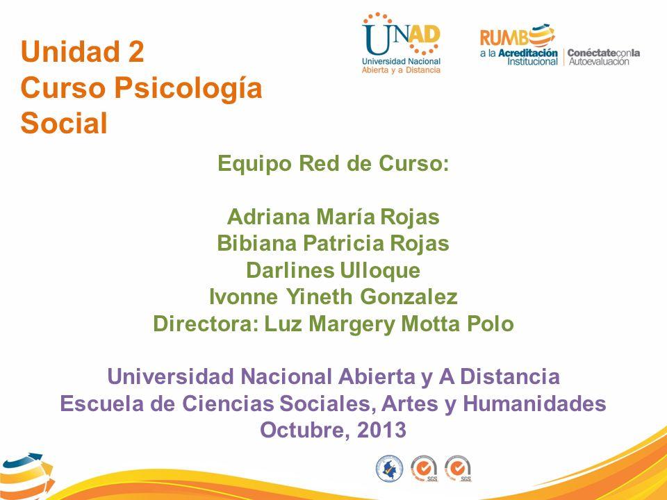 Unidad 2 Curso Psicología Social Equipo Red de Curso: Adriana María Rojas Bibiana Patricia Rojas Darlines Ulloque Ivonne Yineth Gonzalez Directora: Lu