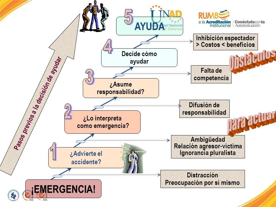 ¿Advierte el accidente? ¿Lo interpreta como emergencia? ¿Asume responsabilidad? ¡EMERGENCIA! Decide cómo ayudar AYUDA Pasos previos a la decisión de a