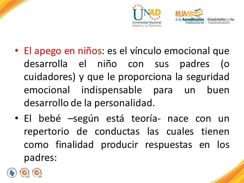 El apego en niños: es el vínculo emocional que desarrolla el niño con sus padres (o cuidadores) y que le proporciona la seguridad emocional indispensa