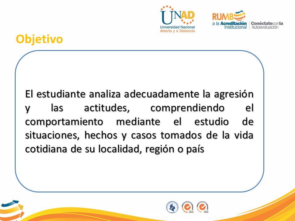 Objetivo El estudiante analiza adecuadamente la agresión y las actitudes, comprendiendo el comportamiento mediante el estudio de situaciones, hechos y