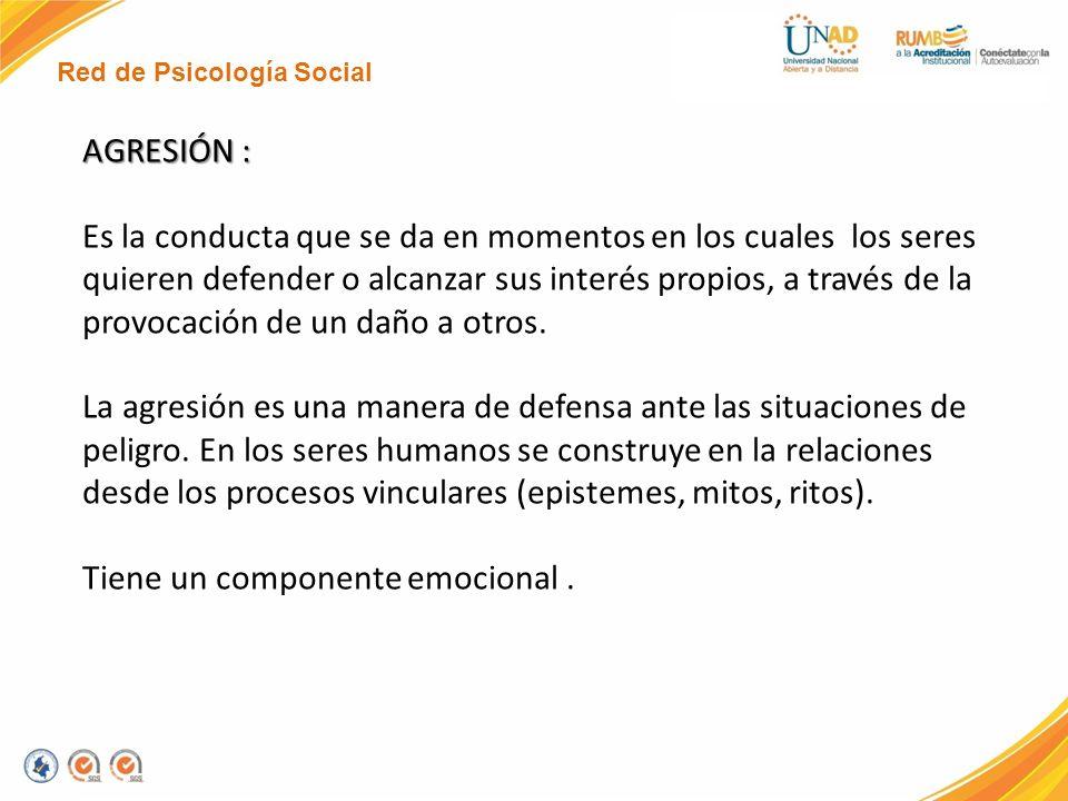 Red de Psicología Social AGRESIÓN : Es la conducta que se da en momentos en los cuales los seres quieren defender o alcanzar sus interés propios, a tr