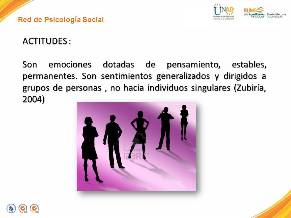 Red de Psicología Social ACTITUDES : Son emociones dotadas de pensamiento, estables, permanentes. Son sentimientos generalizados y dirigidos a grupos