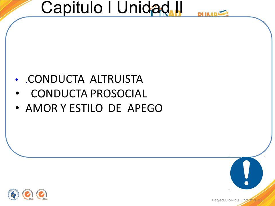 Capitulo I Unidad II FI-GQ-GCMU-004-015 V. 000-27-08-2011. CONDUCTA ALTRUISTA CONDUCTA PROSOCIAL AMOR Y ESTILO DE APEGO