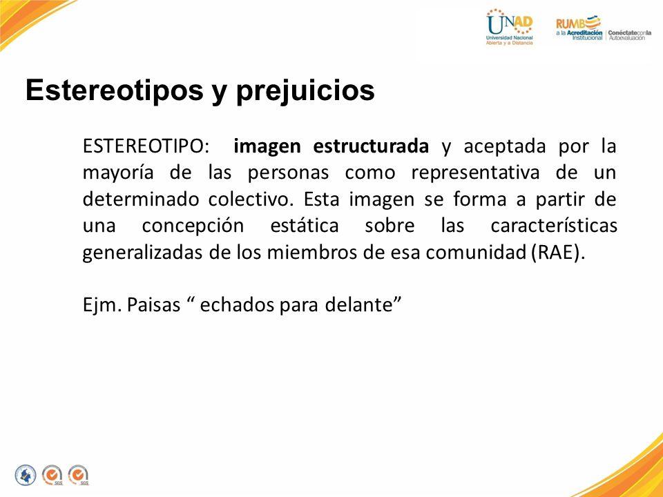 Estereotipos y prejuicios ESTEREOTIPO: imagen estructurada y aceptada por la mayoría de las personas como representativa de un determinado colectivo.