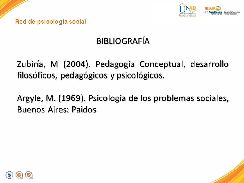 Red de psicología social BIBLIOGRAFÍA Zubiría, M (2004). Pedagogía Conceptual, desarrollo filosóficos, pedagógicos y psicológicos. Argyle, M. (1969).