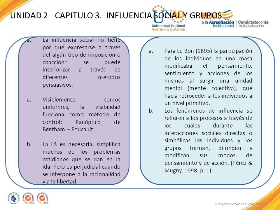 UNIDAD 2 - CAPITULO 3. INFLUENCIA SOCIAL Y GRUPOS FI-GQ-GCMU-004-015 V. 000-27-08-2011 a.La influencia social no tiene por qué expresarse a través del