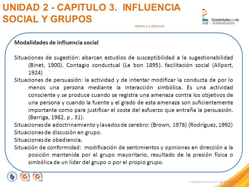 UNIDAD 2 - CAPITULO 3. INFLUENCIA SOCIAL Y GRUPOS FI-GQ-GCMU-004-015 V. 000-27-08-2011 Modalidades de influencia social Situaciones de sugestión: abar