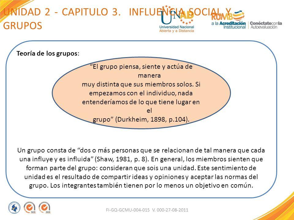 UNIDAD 2 - CAPITULO 3. INFLUENCIA SOCIAL Y GRUPOS FI-GQ-GCMU-004-015 V. 000-27-08-2011 Teoría de los grupos: Un grupo consta de dos o más personas que