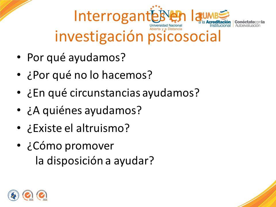 Interrogantes en la investigación psicosocial Por qué ayudamos? ¿Por qué no lo hacemos? ¿En qué circunstancias ayudamos? ¿A quiénes ayudamos? ¿Existe